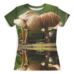 """Футболка с полной запечаткой (женская) """"грибы"""" - грибы, trotinkaspace, тротинка, trotinka, trottphoto"""