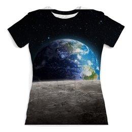 """Футболка с полной запечаткой (женская) """"Земля с луны"""" - звезда, звезды, космос, земля, луна"""