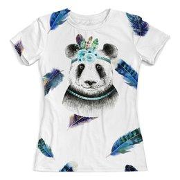 """Футболка с полной запечаткой (женская) """"Панда и перья"""" - цветы, животные, панда, природа, перья"""