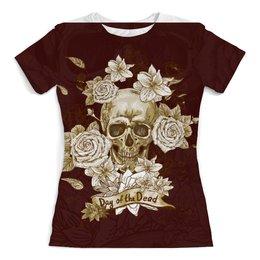 """Футболка с полной запечаткой (женская) """"Day of the Dead"""" - череп, цветы, рок, кости"""