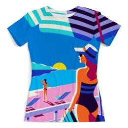 """Футболка с полной запечаткой (женская) """"Летний пейзаж """" - лето, море, отдых, жара, отпуск"""