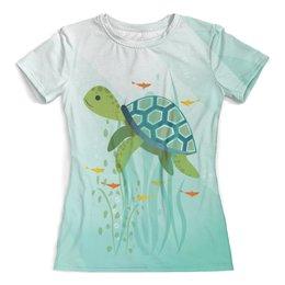 """Футболка с полной запечаткой (женская) """"Oceanic Design"""" - черепаха, рыбы, океан, море, вода"""