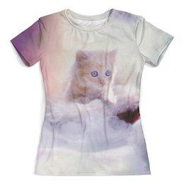 """Футболка с полной запечаткой (женская) """"Котенок"""" - кот, котенок, кошка, животные"""