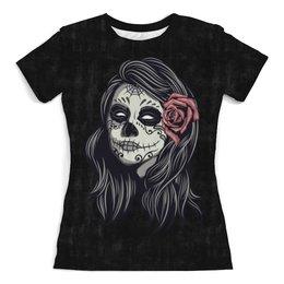 """Футболка с полной запечаткой (женская) """"Dia de los muertos"""" - цветы, роза, день мертвых, muertos, девушка орнамент"""