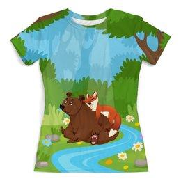 """Футболка с полной запечаткой (женская) """"Забавные животные"""" - животные, медведь, лес, природа, лиса"""