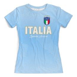 """Футболка с полной запечаткой (женская) """"Сборная Италии"""" - футбол, италия, сборная италии, футбол 2018, футбольные команды"""