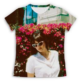 """Футболка с полной запечаткой (Женская) """"Lana Del Rey"""" - цветы, природа, lana del rey, лана дель рей"""