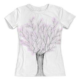 """Футболка с полной запечаткой (женская) """"Дерево сакуры"""" - рисунок, природа, дерево, иллюстрация, сакура"""