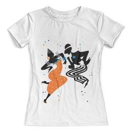 """Футболка с полной запечаткой (женская) """"Танцы. Самба"""" - рисунок, танцы, графика, минимализм"""