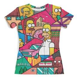 """Футболка с полной запечаткой (женская) """"The Simpsons_"""" - юмор, семья, симпсоны, мульт"""