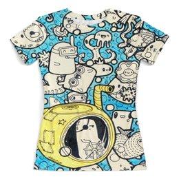 """Футболка с полной запечаткой (женская) """"Капитан подводной лодки"""" - стиль, дизайн, звери, doodles, дудлы"""