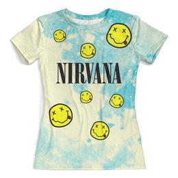 """Футболка с полной запечаткой (женская) """"Nirvana"""" - nirvana, kurt cobain, курт кобейн, нирвана, гранж"""