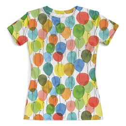 """Футболка с полной запечаткой (женская) """"Шарики"""" - лето, фестиваль, шар, тусовка, baloon"""