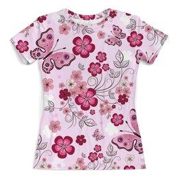 """Футболка с полной запечаткой (женская) """"Бабочки"""" - бабочки, цветы, розовый"""