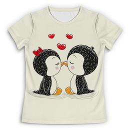 """Футболка с полной запечаткой (Женская) """"Влюбленные пингвины"""" - любовь, пингвины, подарок, парные"""