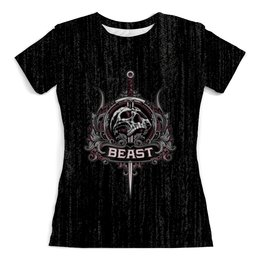 """Футболка с полной запечаткой (женская) """"Beast"""" - skull, череп, рок, rock"""