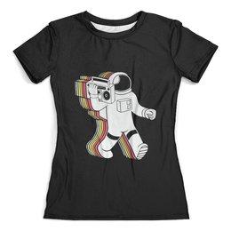 """Футболка с полной запечаткой (женская) """"Космонавт"""" - музыка, space, космос, космонавт"""