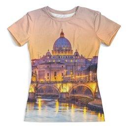 """Футболка с полной запечаткой (женская) """"Город"""" - дизайн, мост, город, рисунок, рим"""