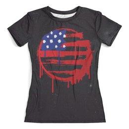 """Футболка с полной запечаткой (женская) """"American Flag (Американский флаг)"""" - америка, usa, флаг, сша, flag"""