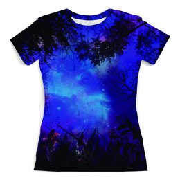 """Футболка с полной запечаткой (женская) """"Forest in Space"""" - арт, необычно, космос, лес, абстракция"""