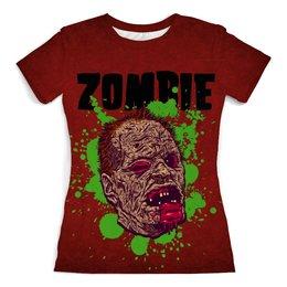 """Футболка с полной запечаткой (женская) """"Зомби арт"""" - skull, череп, арт, zombie, зомби"""