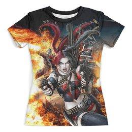"""Футболка с полной запечаткой (женская) """"Harley Quinn Design"""" - харли квинн, суперзлодейка, отряд самоубийц, любителям комиксов"""