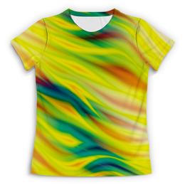 """Футболка с полной запечаткой (Женская) """"SAMUR!!!"""" - арт, цвета, краски, пламя, линии"""