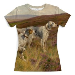 """Футболка с полной запечаткой (женская) """"Встречаем год Собаки"""" - картина, собака, день рождения, живопись, артур вардль"""