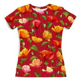 """Футболка с полной запечаткой (женская) """"Цветочки"""" - цветы, весна, природа, цветочки"""