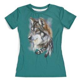 """Футболка с полной запечаткой (женская) """"Волчонок"""" - собака, перья"""