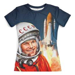 """Футболка с полной запечаткой (женская) """"GAGARIN"""" - космос, гагарин, космонавт, патриотам, юрий гагарин"""