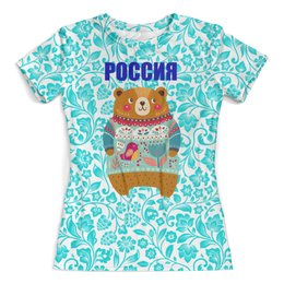 """Футболка с полной запечаткой (женская) """"Россия"""" - медведь, россия, флаг, символика, рф"""