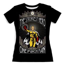 "Футболка с полной запечаткой (женская) ""Ванпанчмен"" - аниме, сайтама, onepunchman, one punch man, ванпанчмен"