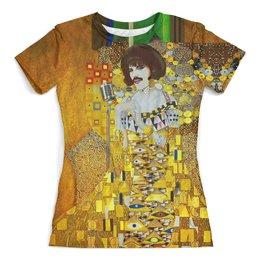"""Футболка с полной запечаткой (женская) """"Freddie Mercury (Gustav Klimt)"""" - музыка, фредди меркьюри, freddie mercury, густав климт, богемская рапсодия"""