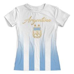 """Футболка с полной запечаткой (женская) """"Сборная Аргентины"""" - футбольные команды, сборная аргентины, футбол, аргентина, футбол 2018"""