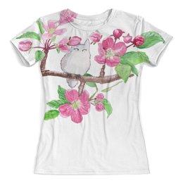 """Футболка с полной запечаткой (женская) """"Цветущая яблоня"""" - романтика, весна, розовый, тоторо, цветы яблони"""