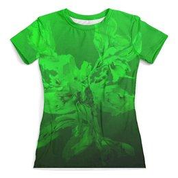 """Футболка с полной запечаткой (женская) """"Альстромерия. Фантазия"""" - акварельью, фантазийный, зеленый, цветок, абстрактный"""