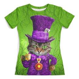 """Футболка с полной запечаткой (женская) """"Cheshire Cat"""" - кот, юмор, алиса в стране чудес, фентази, чеширский кот"""