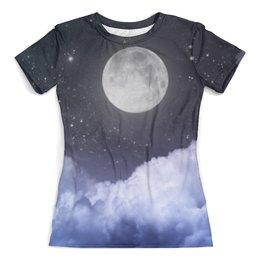 """Футболка с полной запечаткой (женская) """"Ночь и луна"""" - ночь, луна, небо, космос, облака"""