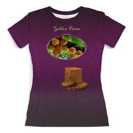 """Футболка с полной запечаткой (женская) """"Я <3 шоколад!"""" - любовь, юмор, вишня, шоколад, golden cacao"""
