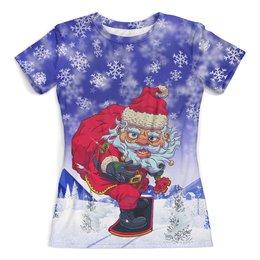 """Футболка с полной запечаткой (женская) """"Santa Snowboard (С Новым Годом!)"""" - новый год, дед мороз, сноуборд, санта клаус, катание"""