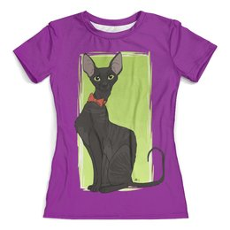 """Футболка с полной запечаткой (женская) """"Чёрная кошка"""" - кот, кошка, cat"""
