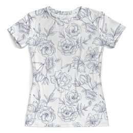 """Футболка с полной запечаткой (женская) """"Весенние розы"""" - цветы, цветок, нежный цветок, розы"""