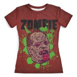 """Футболка с полной запечаткой (женская) """"Зомби арт"""" - skull, zombie, арт, череп, зомби"""