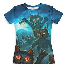 """Футболка с полной запечаткой (женская) """"Fantasy Cats (Halloween)"""" - коты, ужастик, тыква, ужасы, хеллоуин"""