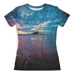 """Футболка с полной запечаткой (женская) """"Маяк в море"""" - море, природа, вода, маяк, океан"""