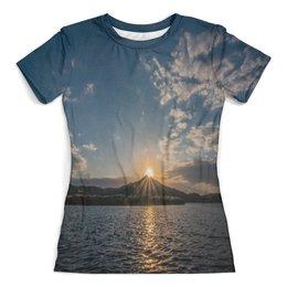 """Футболка с полной запечаткой (женская) """"Закат """" - солнце, море, природа, закат, горы"""