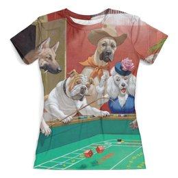 """Футболка с полной запечаткой (женская) """"Казино"""" - казино, игра, собаки, юмор"""
