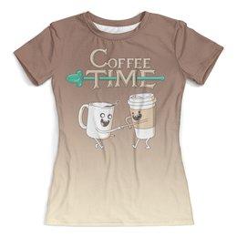 """Футболка с полной запечаткой (женская) """"Время кофе"""" - кофе, время приключений, adventure time"""