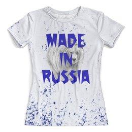"""Футболка с полной запечаткой (женская) """"Мишка"""" - медведь, животные, мишка, россия, надписи"""